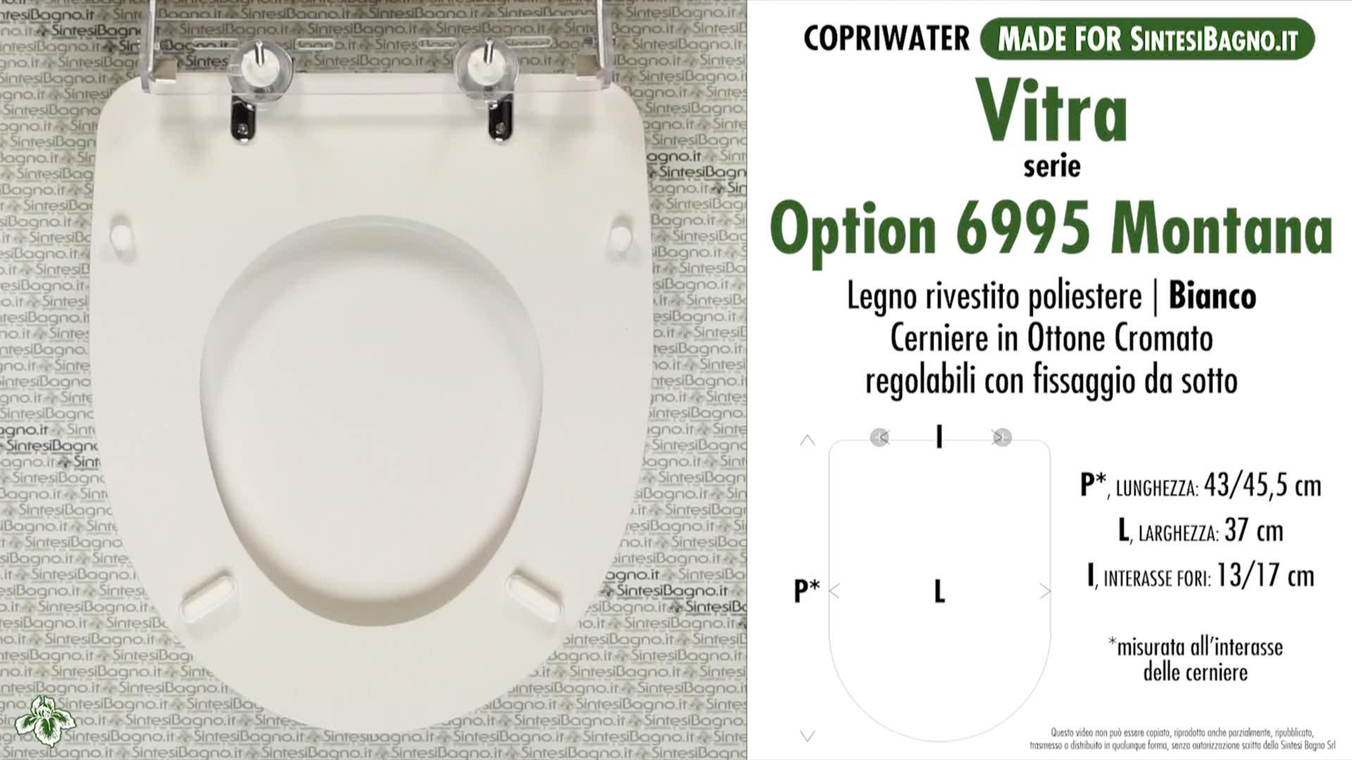 SCHEDA TECNICA MISURE copriwater VITRA OPTION 6995 MONTANA