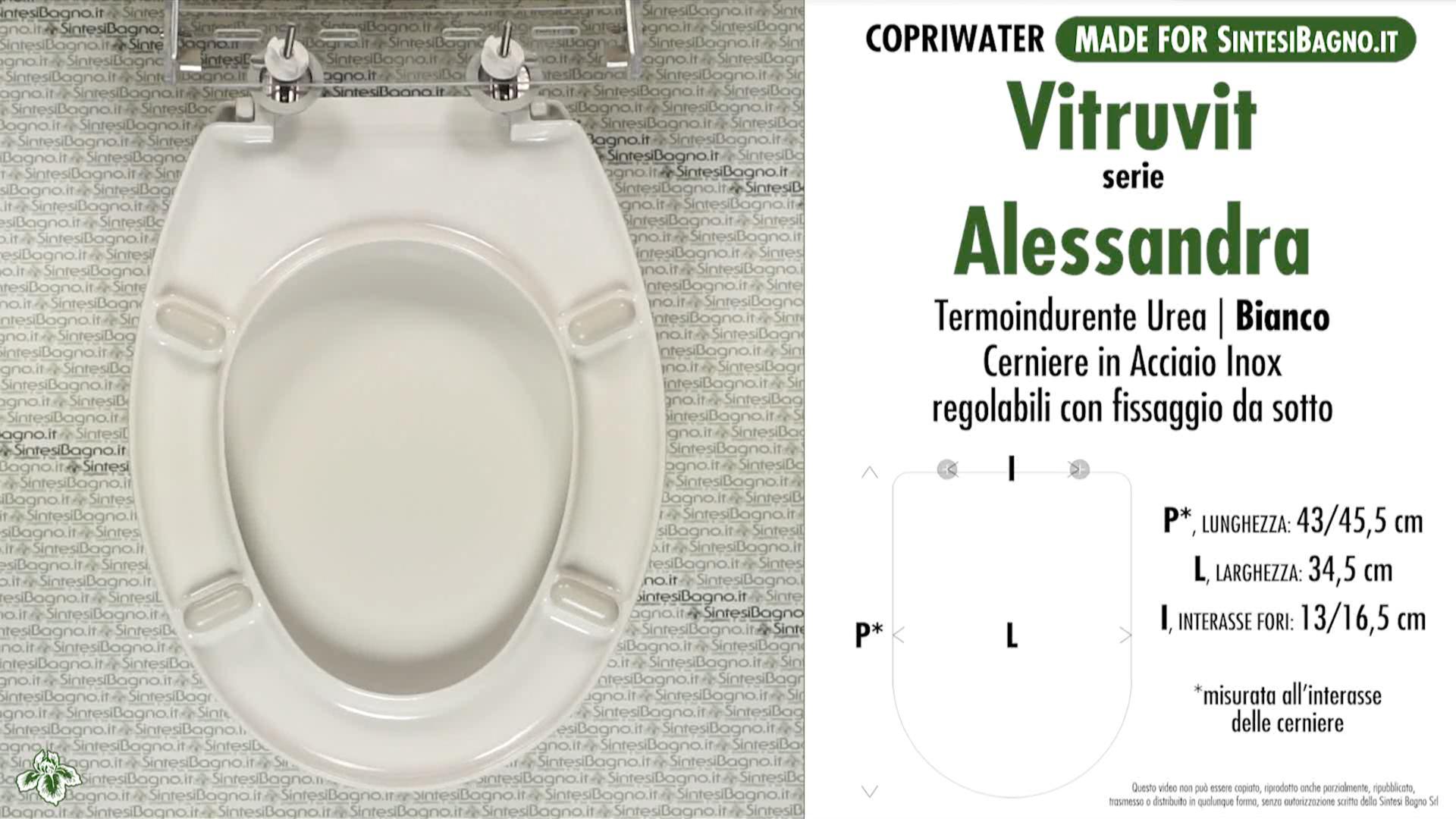 SCHEDA TECNICA MISURE copriwater VITRUVIT ALESSANDRA