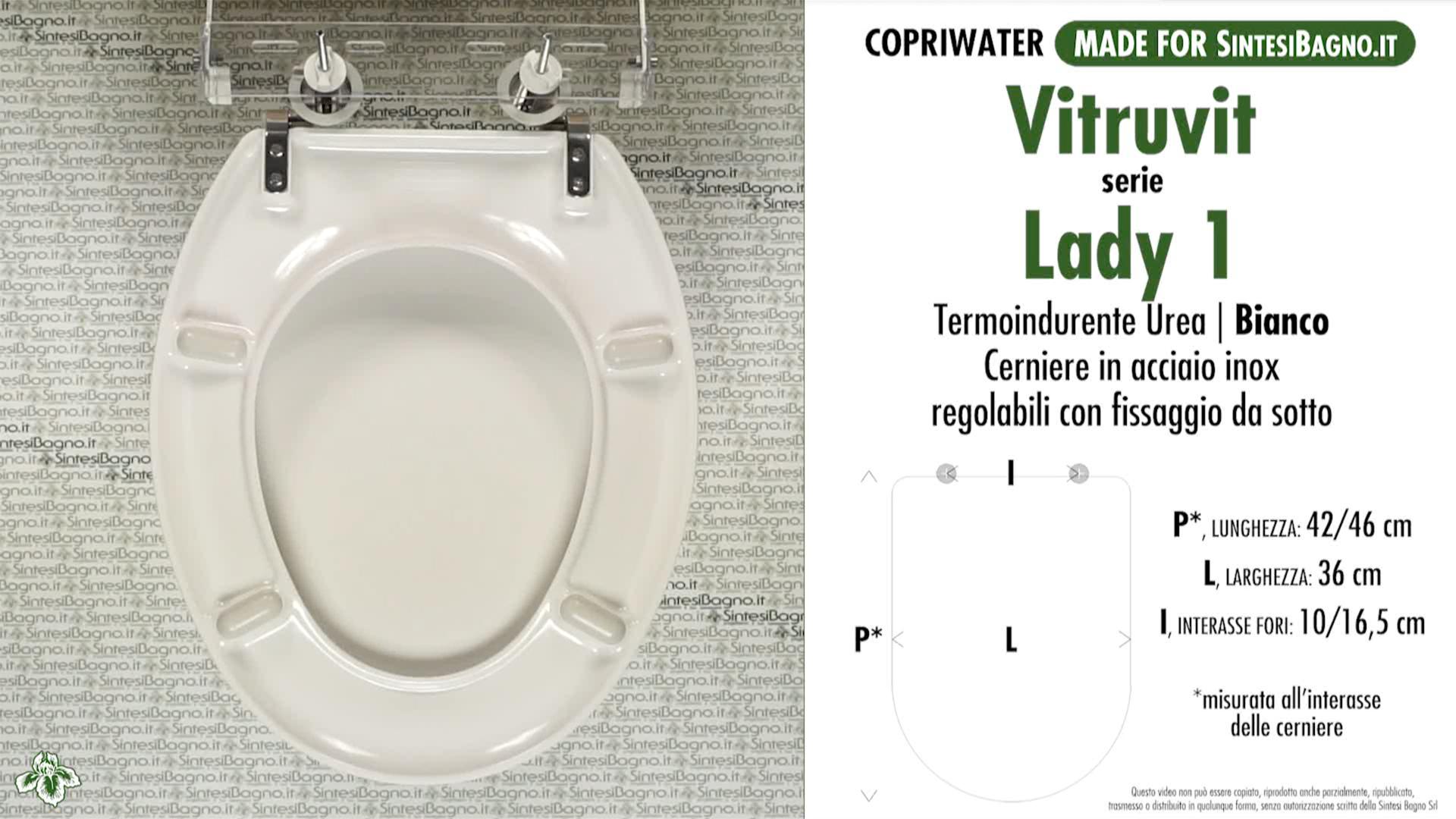 SCHEDA TECNICA MISURE copriwater VITRUVIT LADY