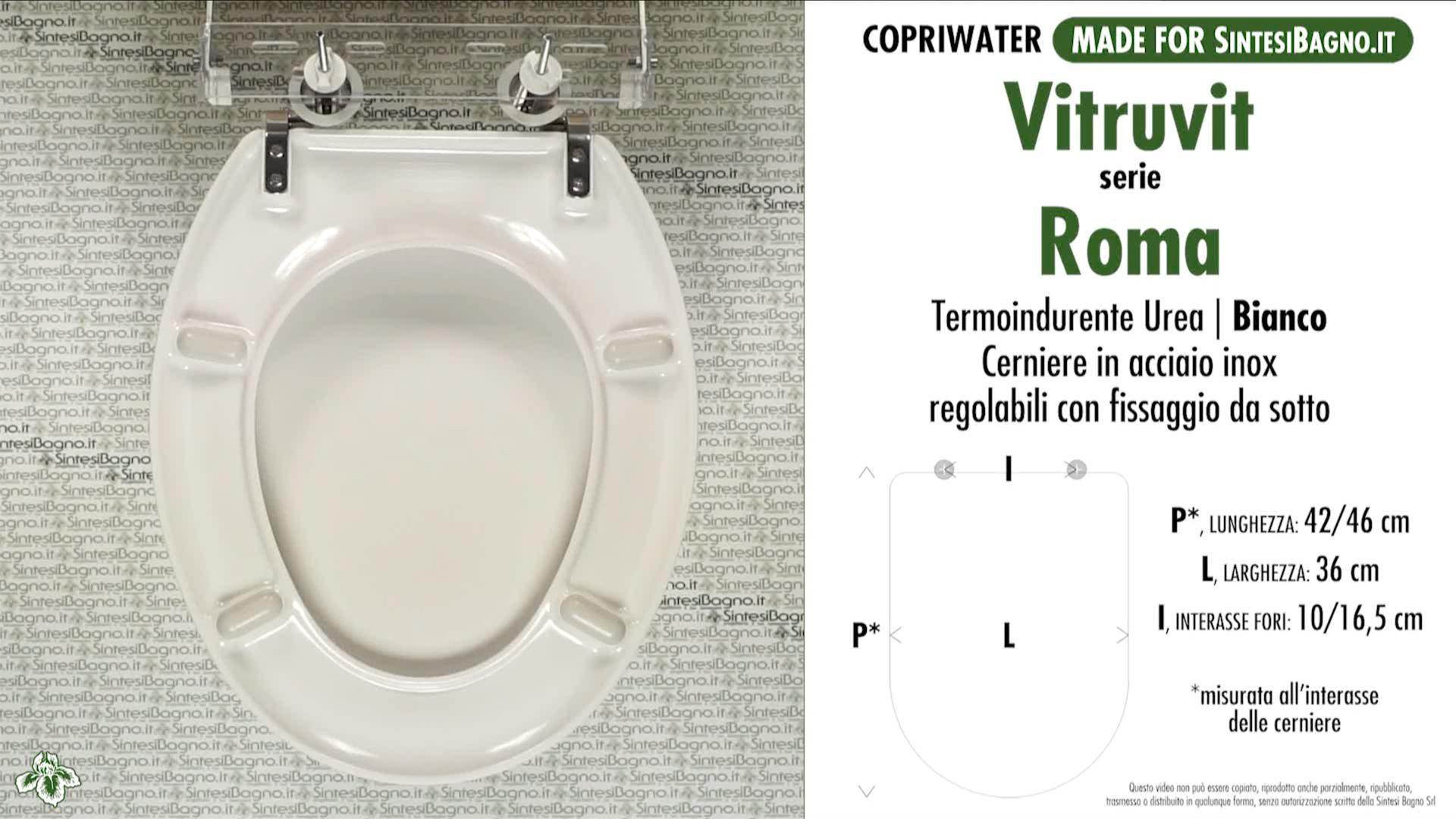 SCHEDA TECNICA MISURE copriwater VITRUVIT ROMA