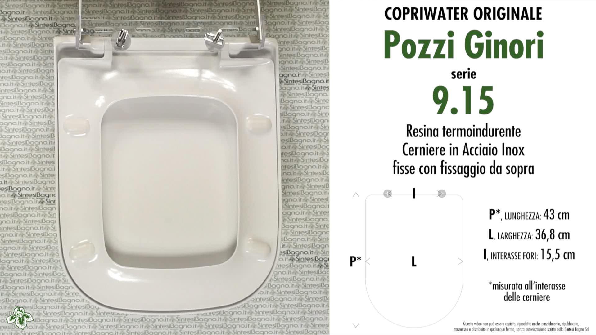 SCHEDA TECNICA MISURE copriwater POZZI GINORI 9.15