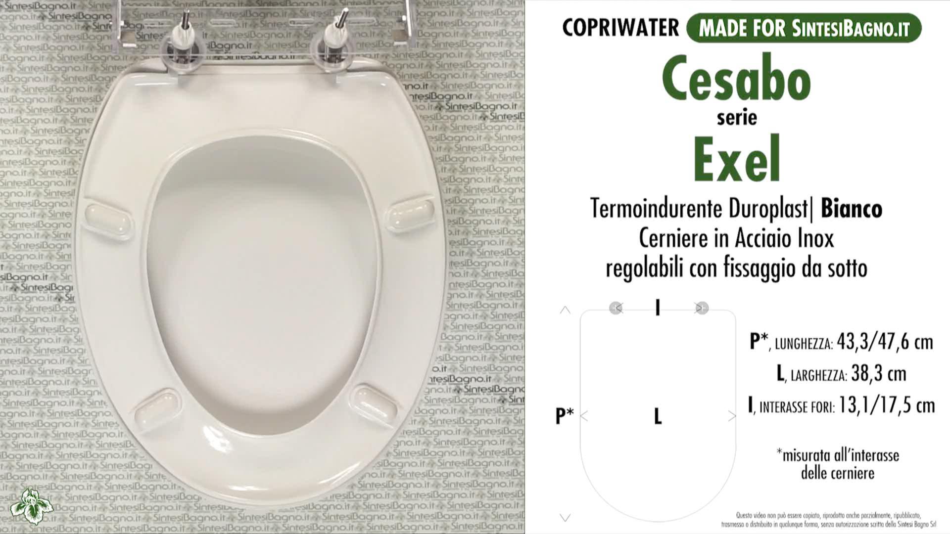 SCHEDA TECNICA MISURE copriwater CESABO EXEL