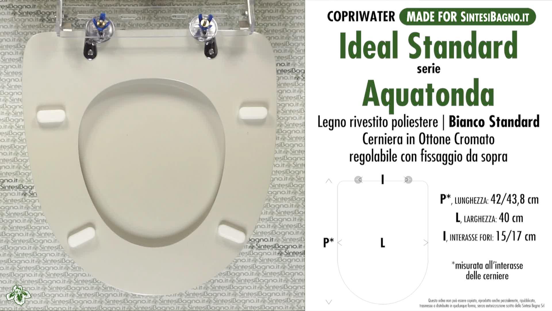 SCHEDA TECNICA MISURE copriwater IDEAL STANDARD AQUATONDA