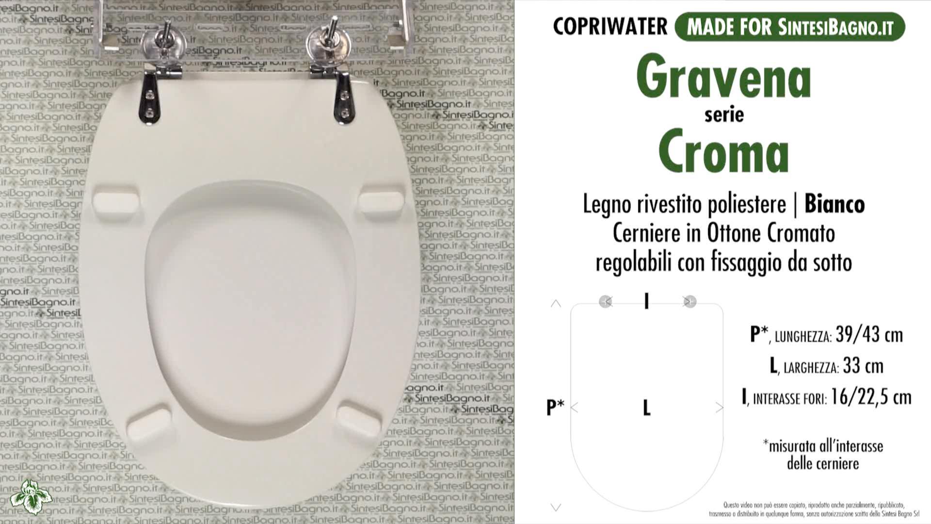 SCHEDA TECNICA MISURE copriwater GRAVENA CONNY