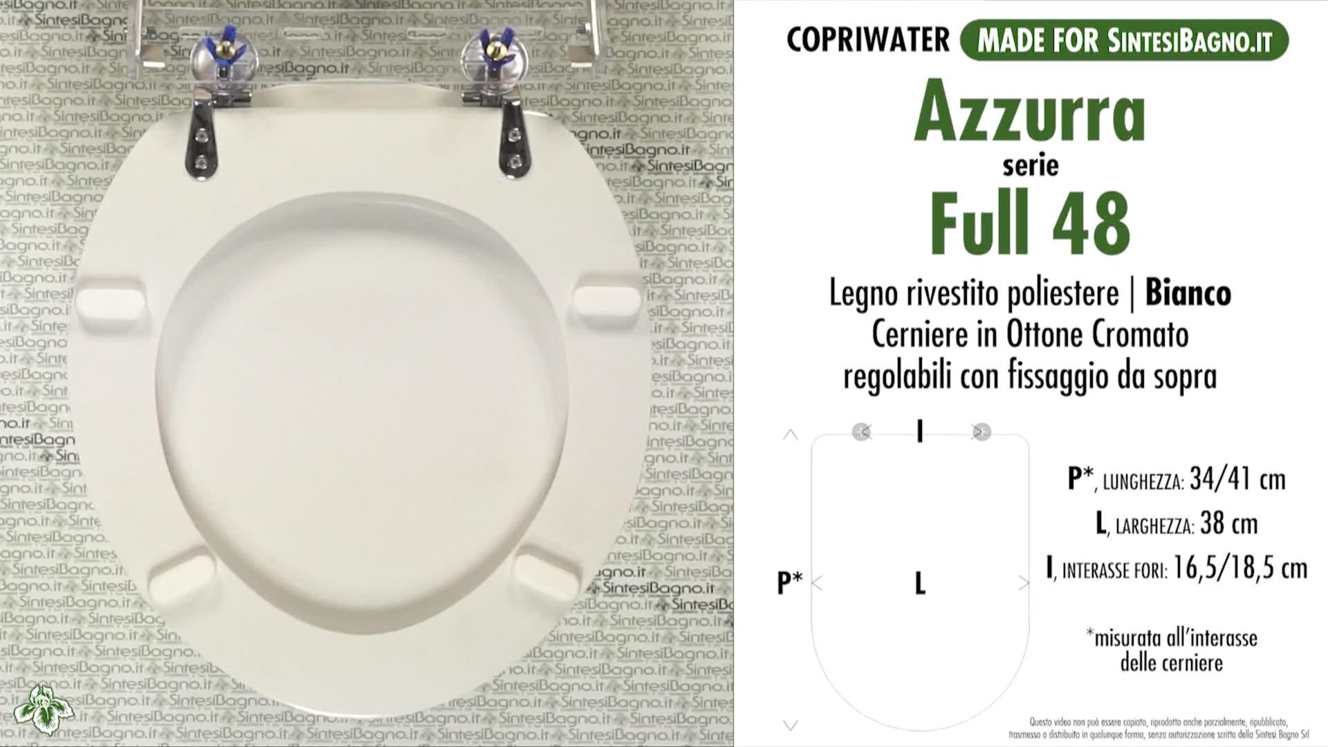 SCHEDA TECNICA / DATASHHET copriwater AZZURRA modello FULL 48