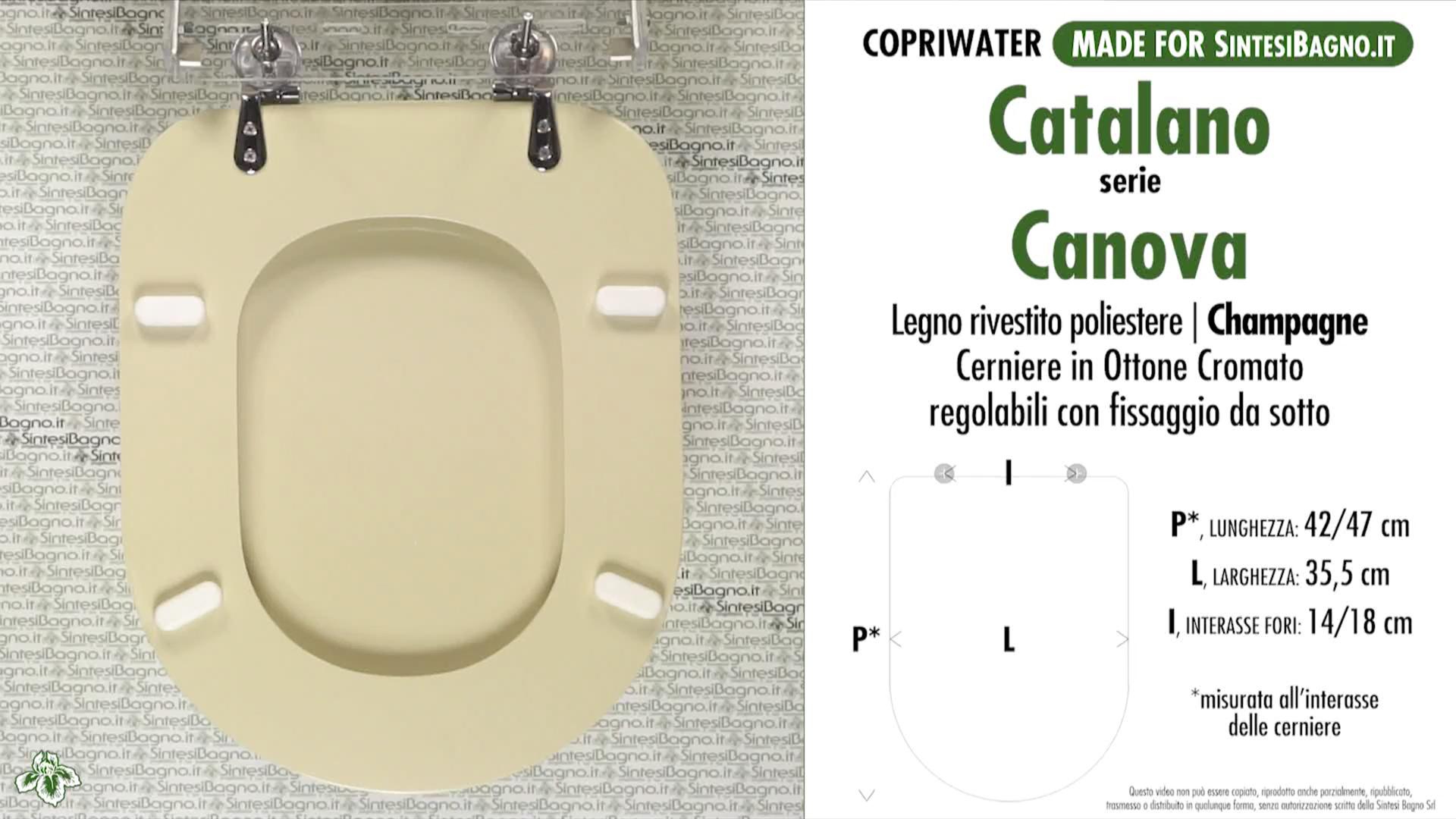 SCHEDA TECNICA / DATASHEET copriwater CATALANO modello CANOVA