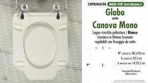 SCHEDA TECNICA MISURE copriwater GLOBO CANOVA MONO