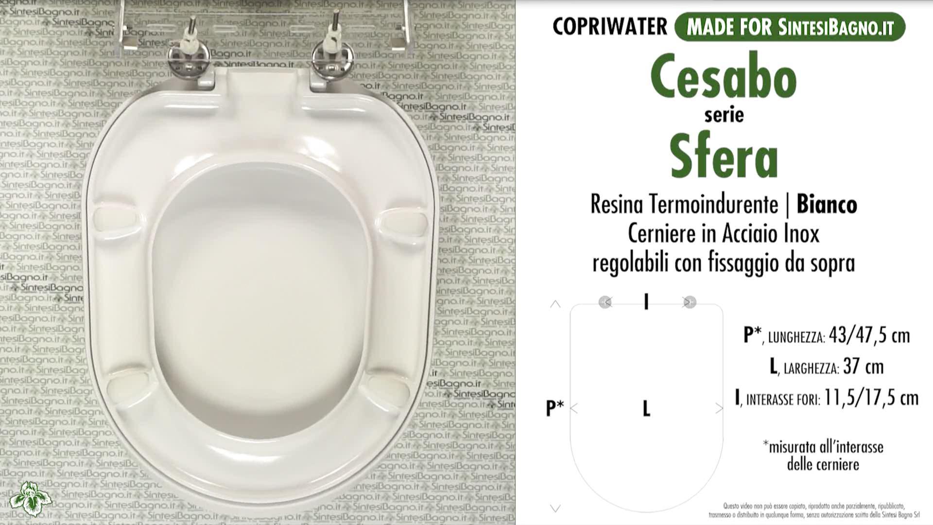 SCHEDA TECNICA MISURE copriwater CESABO SFERA