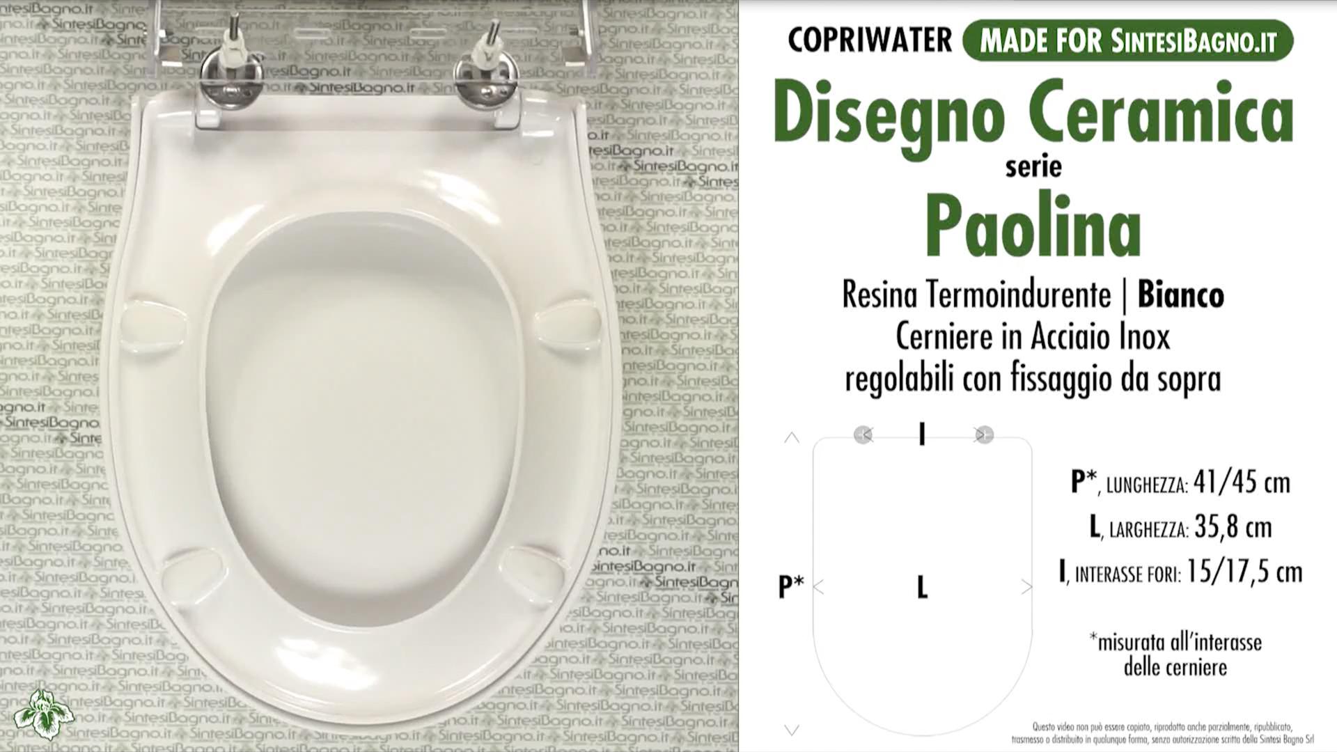 SCHEDA TECNICA MISURE copriwater DISEGNO CERAMICA PAOLINA
