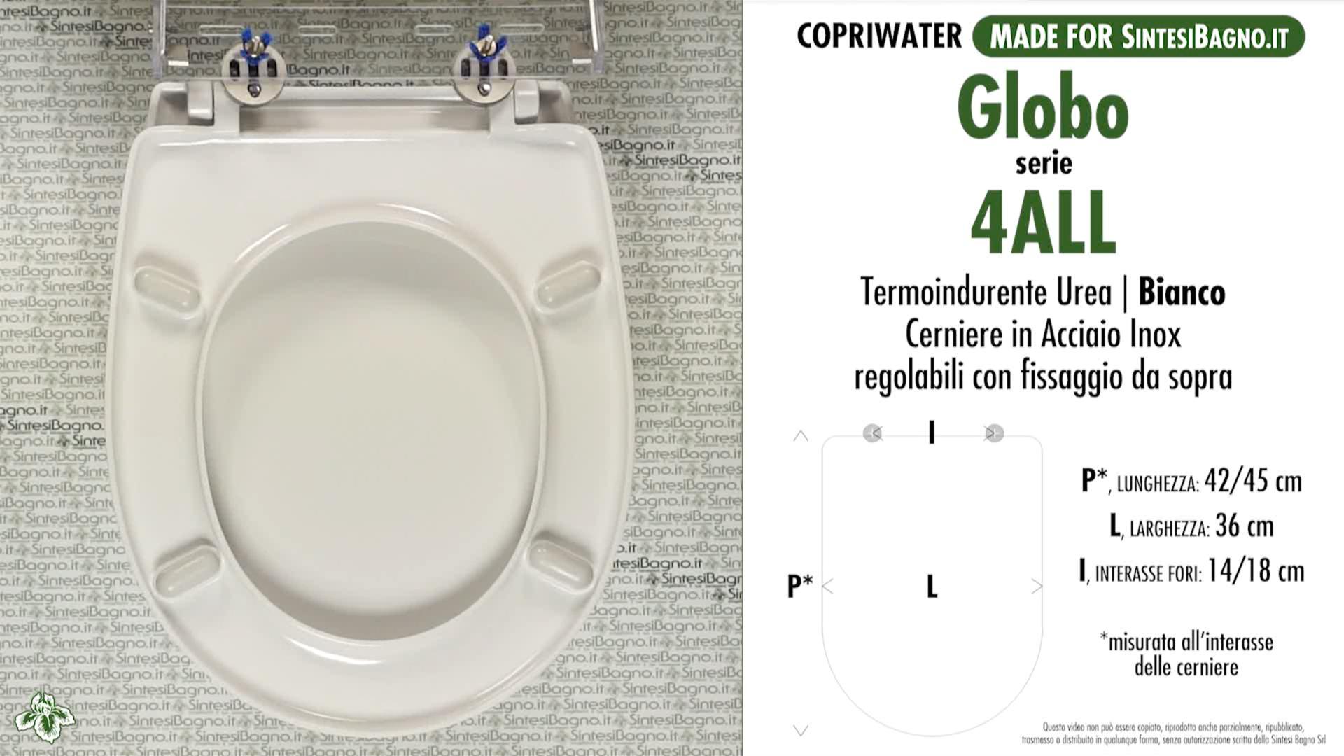 SCHEDA TECNICA MISURE copriwater GLOBO 4ALL