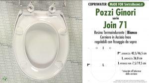 SCHEDA TECNICA MISURE copriwater POZZI GINORI JOIN 71