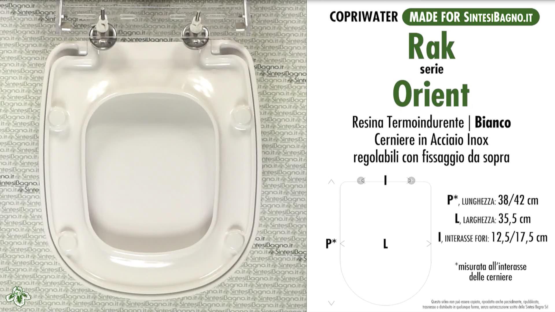 SCHEDA TECNICA MISURE copriwater RAK ORIENT