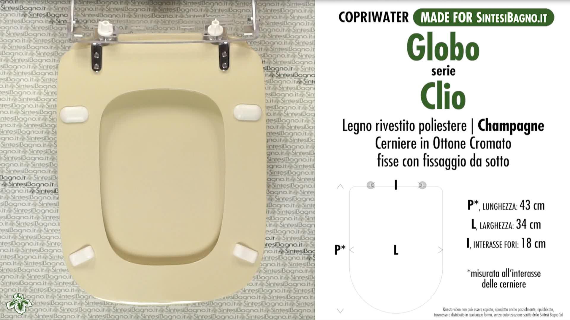 SCHEDA TECNICA MISURE copriwater GLOBO CLIO