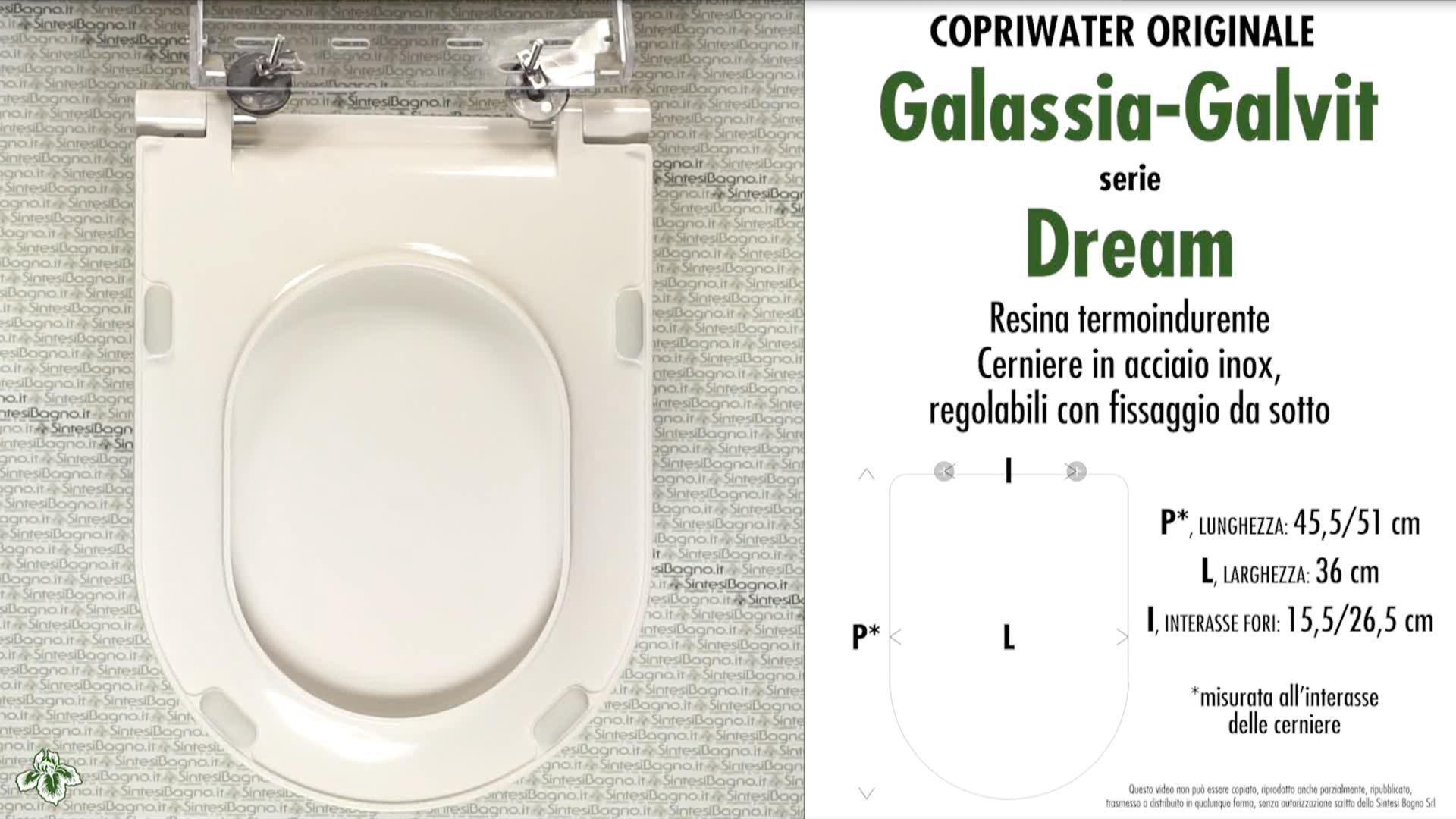 SCHEDA TECNICA MISURE copriwater GALASSIA-GALVIT DREAM