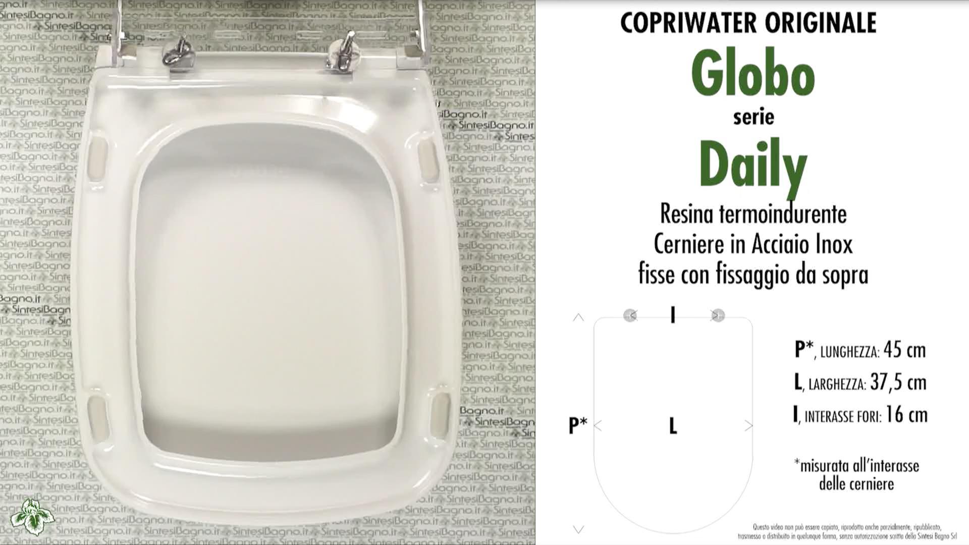 Schede tecniche misure copriwater globo serie daily for Copriwater globo serie lei