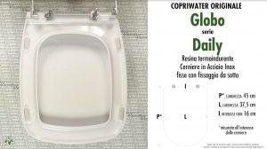 SCHEDA TECNICA MISURE copriwater GLOBO DAILY