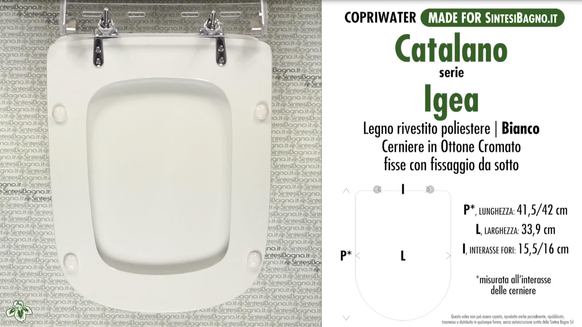 SCHEDA TECNICA MISURE copriwater CATALANO IGEA