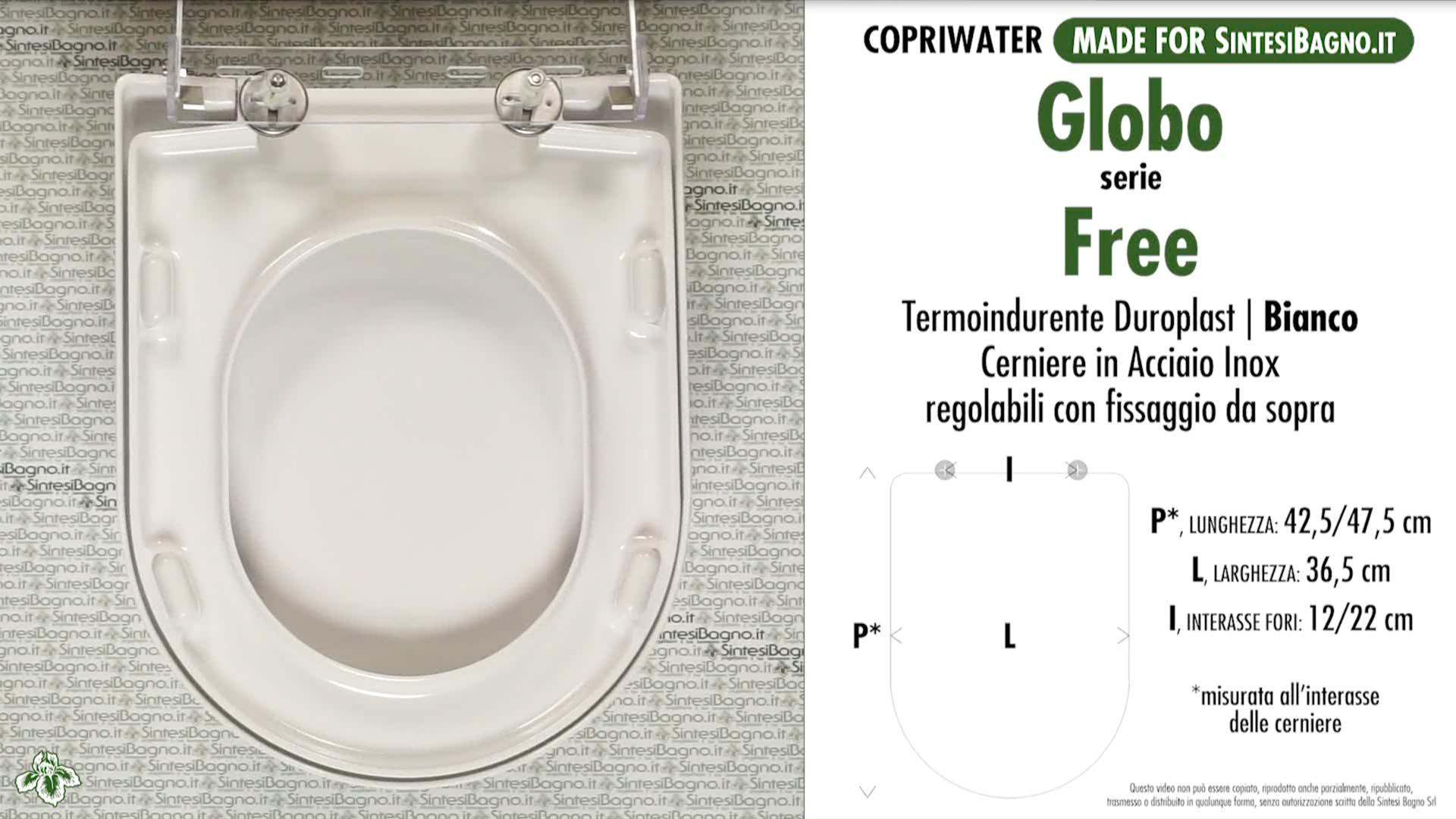 SCHEDA TECNICA MISURE copriwater GLOBO FREE