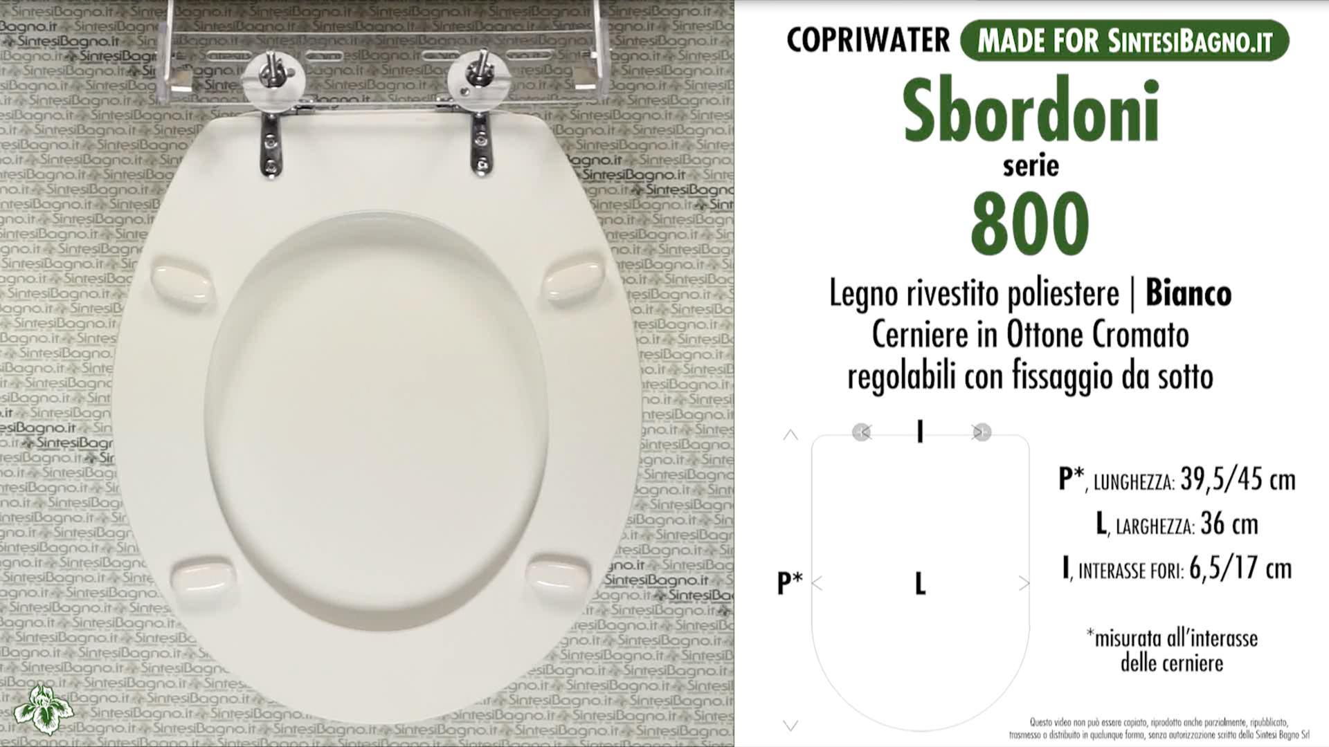 SCHEDA TECNICA MISURE copriwater SBORDONI 800 OTTOCENTO