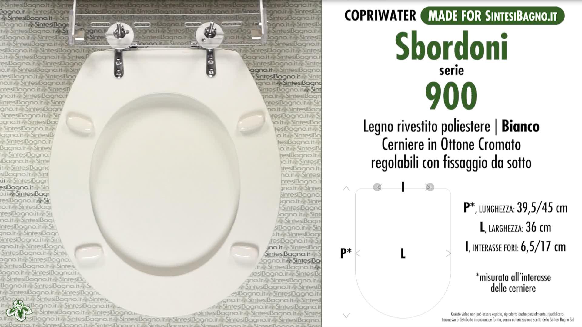 SCHEDA TECNICA MISURE copriwater SBORDONI 900 NOVECENTO